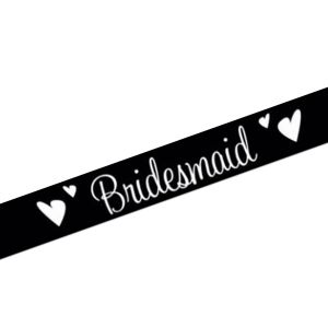Black Bridesmaid Satin Sash